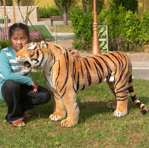 Modelzoo animal yellow tiger toy huge plush tiger doll strong tiger doll about 112x72cm stuffed animal 145cm plush tiger toy about 57 inch simulation tiger doll great gift w014