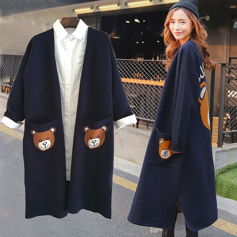 2017 Autumn Women Poncho Long Cardigan Swearter Bear Pattern Pockets Full Sleeve V-Neck Oversize Cardigan Sweater Women Coat