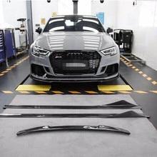 18 RS3 передний разделитель спойлер сторона юбки углеродного волокна тела комплект для Audi RS3
