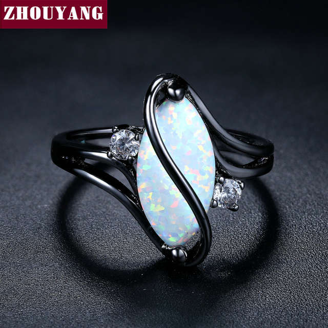 fb3b6df201f7f ZHOUYANG Ring For Women Oval Opal Stone Cubic Zirconia Black Gold Color  Rings Fashion Jewelry Party Gift 2018 Hot Sale ZYR642