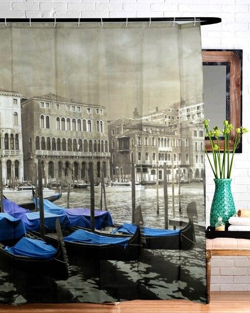 180180 Cm European Venice Gondola Memory Polyester High Definition Printing Waterproof Mildew Shower