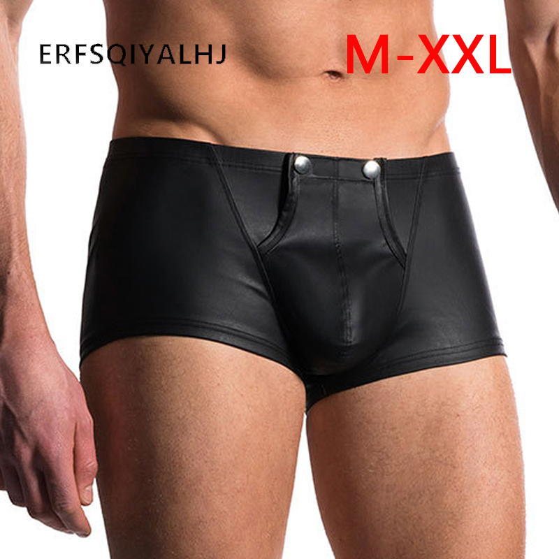 Black Leather Panties Low Waist Briefs For Men Open Crotch Pants Intimacy Latex Panties Sex Underwear Hot Sexy Men Erotic  Thong(China)