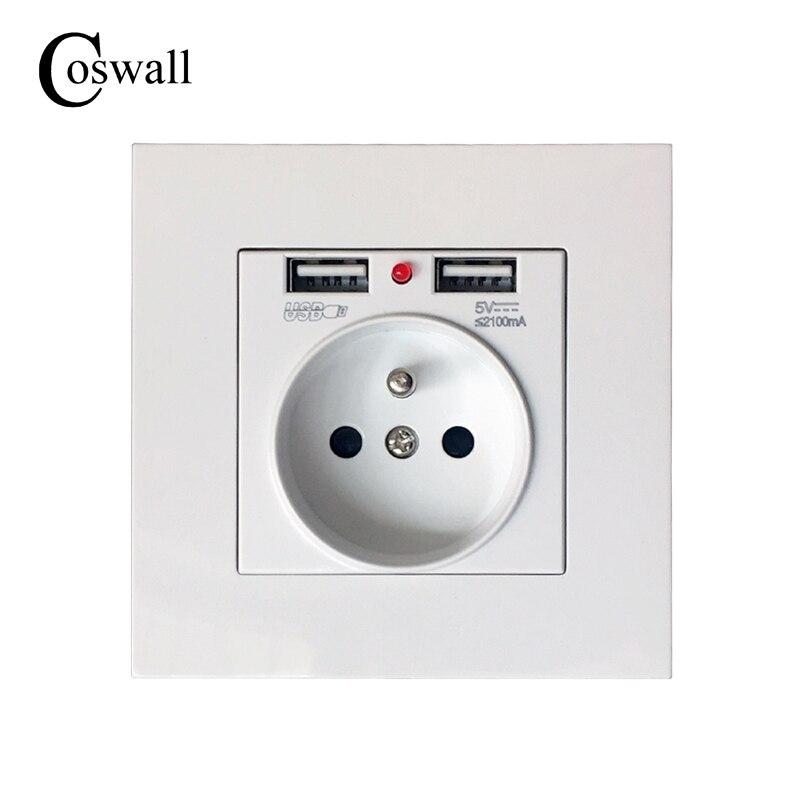 Coswall 2017 Nuevo 16 a toma de corriente de pared estándar francesa de alta calidad PC panel de plástico salida 2.1A doble puerto de cargador USB para Mobil