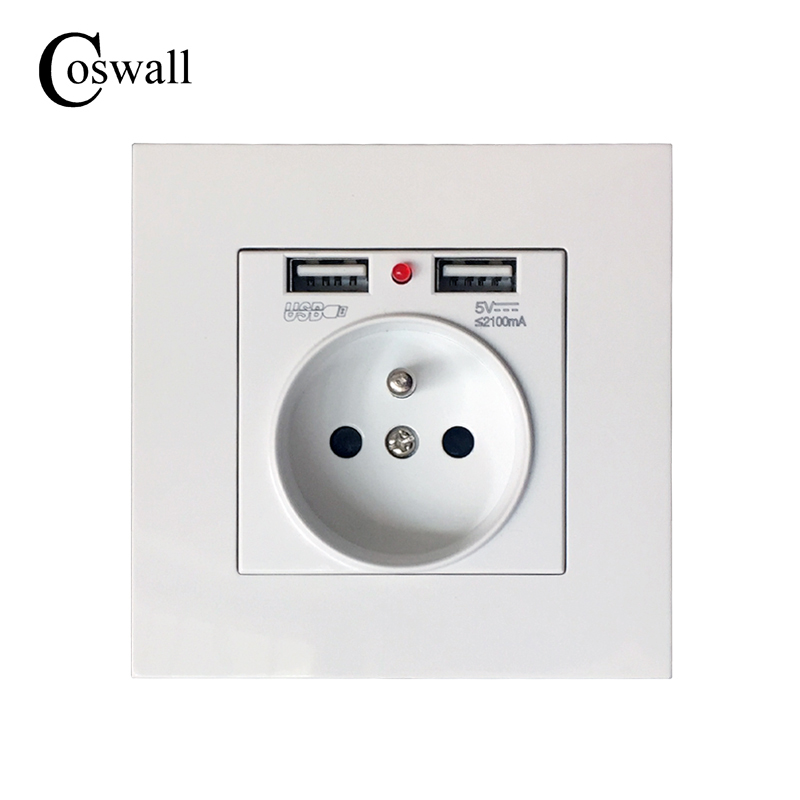 Coswall 2017 New 16A French Standard Wall Power Socket High Quality PC Plastic panel Outlet 2.1A Dual USB Charger Port for Mobil dixinge high quality brand german standard socket wall socket tv outlet silvery were pc material panel b120 l134