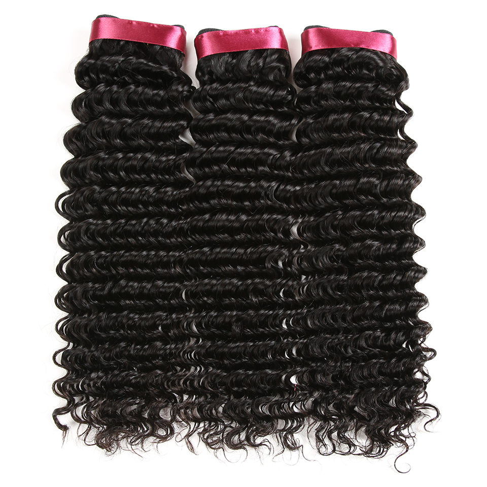 Karizma Deep Wave Brazilian Hair 3 Bundle Deals Med Closure Middle - Mänskligt hår (svart) - Foto 3