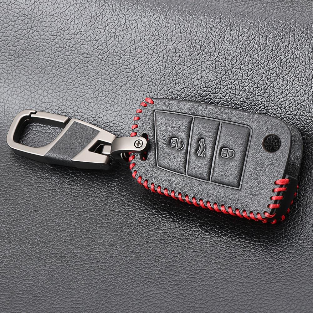 Leather Car Key Case For SEAT Leon Ibiza CUPTRA For Skoda Octavia A7 Key Case