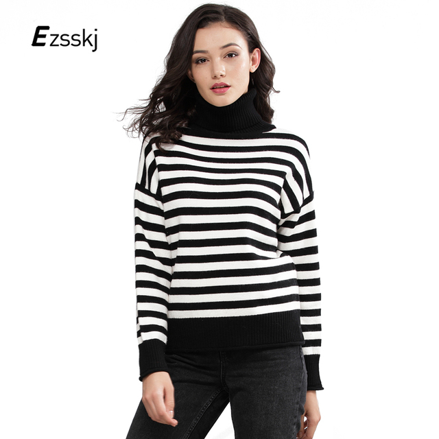 White Black Stripe Sweater Women Pullovers Turtleneck Loose Winter Thick  Sweaters High Neck Casual Long Sleeve 998a80844