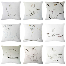 CUSCOV 2018 New Article Cute little cat animals Cushion Cover Cotton Linen  Deocrative Pillows for Sofa Pillowcase Cojin