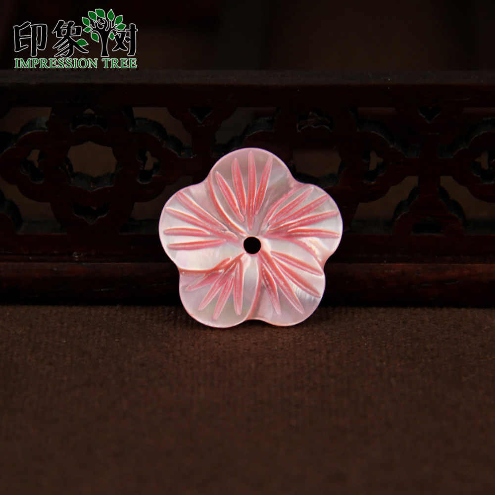 10pcs 11/16/20mm Pink Flower Carven Shell Beads Smooth Side Flower Shell Charms For Handmade Necklace DIY Jewelry Making 1905