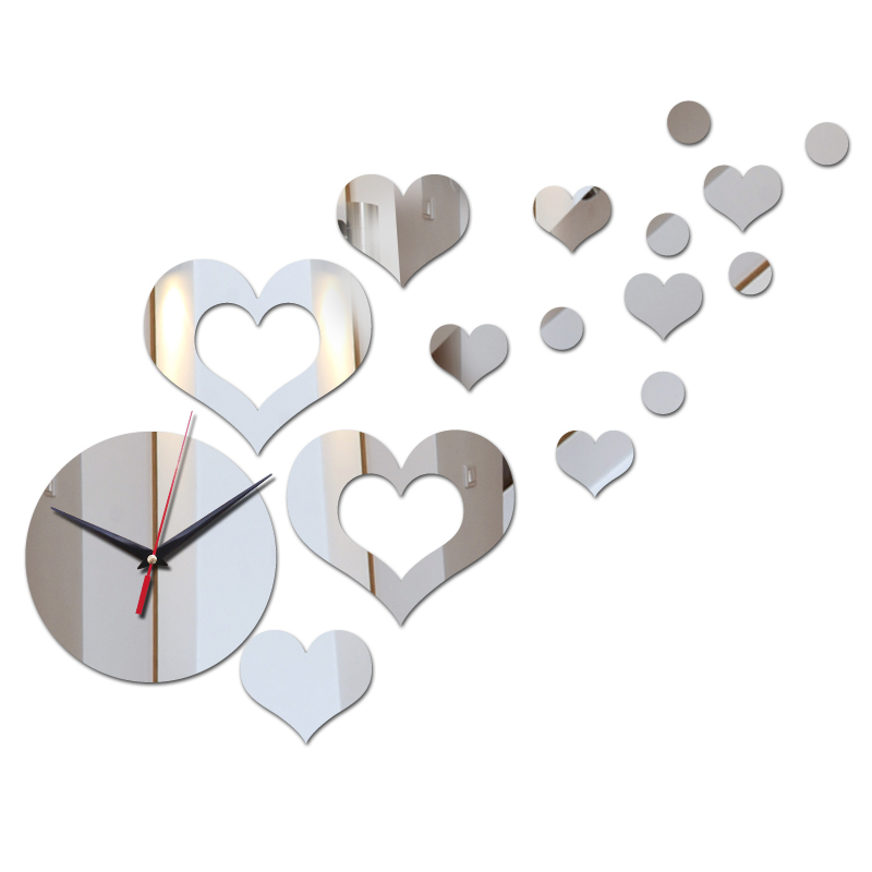 New Design Diy Acrylic Material Wall Clocks Single Face Needle Quartz Wall Watches Brief Style Hearts Decor Home Wall Stickers