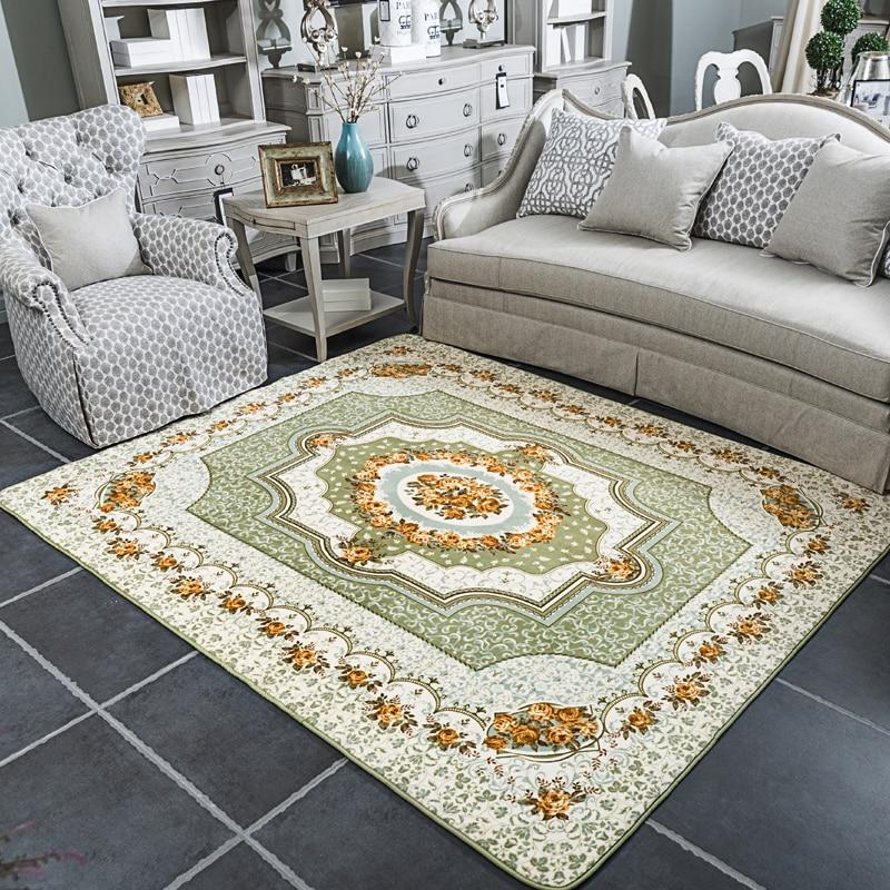 European Classic Rose Carpet Living Room Carpet Rug Bedroom Non-slip Floor Mat Home Retro Decorative Carpets Tea Table Mat