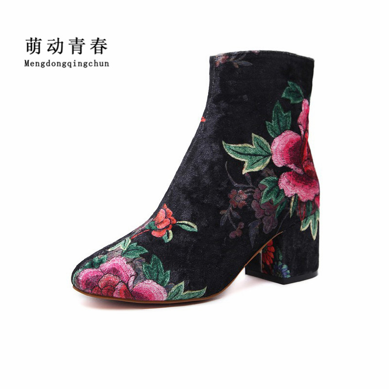 2017 Fashion Women Ankle Boots Autumn Winter Botas Suede Woman Boots Women Embroidered Print Bootie Round Toe Sapatos Feminios rumbidzo women boots 2018 fashion woman shoes round toe lace up flat heel winter snow boots women bootie warm botas sapatos