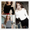 Hot Sale 2015 Korea Spring Autumn Casual Women Off Shoulder Striped Basic Shirt Long Sleeve Shirts Tops Ladies Sexy Blouse