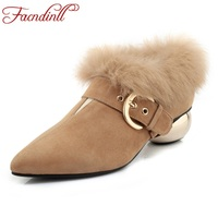 FACNDINLL Genuine Leather Women Autumn Winter Real Fur Nice Ankle Boots Shoes Pointed Toe Black Shoes