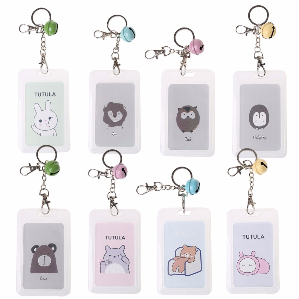 THINKTHENDO Casual Unisex Cartoon Cute Credit Card Holder Key Chain Sleeve Set Bus Card Case Bag With Keyring 8 Pattern cute cartoon pattern flip open pu case w holder card slot for iphone 5 5s pink