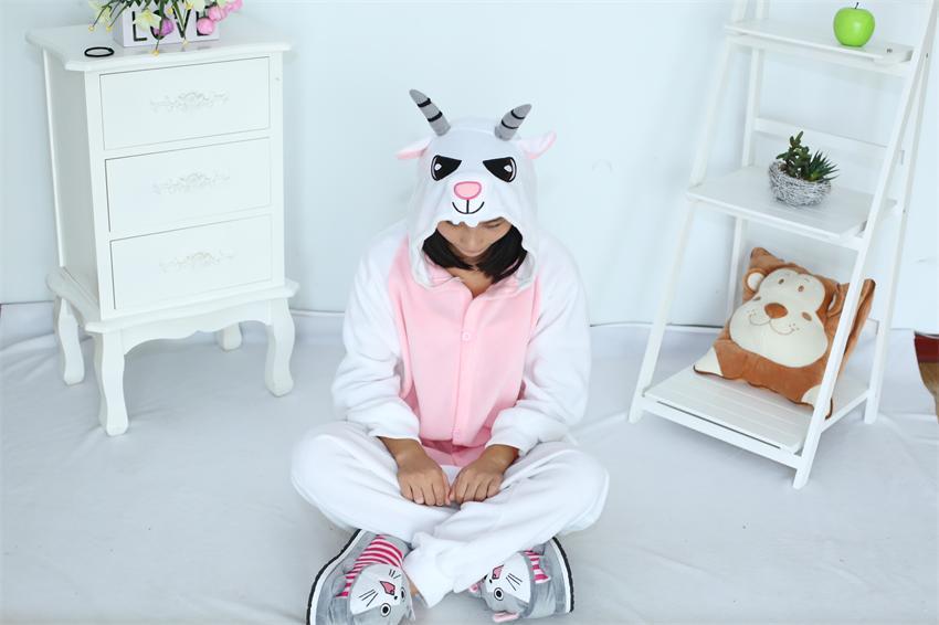 Cartoon Vuxen Unisex Goat Onesies Pyjamas Fleece Sheep Pyjamas Animal Kostymer Cosplay Tecknad Sleepwear Animal Conjoined
