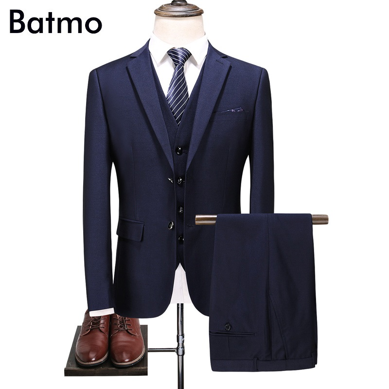 Batmo 2018 New Arrival High Quality Navy Blue Smart Casual Suits Men,men's Casual Suits ,weddind Dress 6801