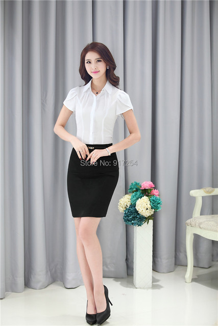 Nova Moda Primavera Verão 2015 Novidade Mulheres Ternos de Negócio Ternos Formais de Escritório Trabalhar Senhoras Saia e Blusa Define Elegante