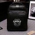 2017 mochila de couro coreano rugzak bts kpop mochila saco de escola dos meninos mochila laptop mochilas meninas bonitos sacos de ombro das mulheres