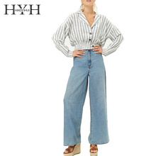 HYH HAOYIHUI Cotton Outwear Striped Print Button Short Paragraph Under the Elastic Tights High Waist and Slender Slim Fit