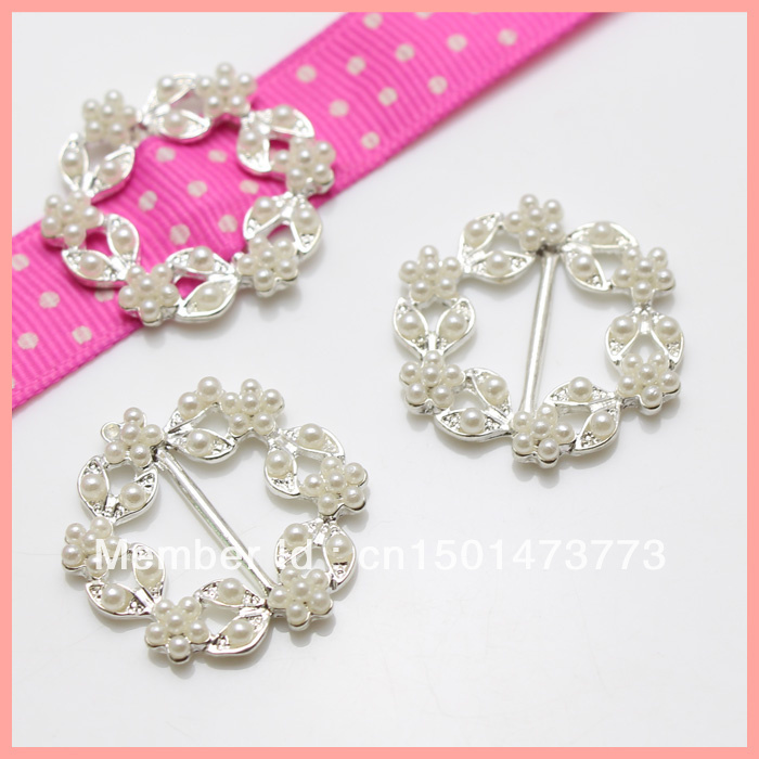 Rhinestone buckle,  Cryastal Wedding invitations Pearl Cluster Buckles,100pcs Ribbon Buckles for Hair Jewelry/ Box/Card-in Buckles & Hooks from Home & Garden    1