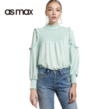 asmax 2017 Basic Ruffles Women Shirts Long Sleeve Stand Collar Female Blouses Solid Color Casual Slim Ladies Shirts