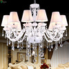 European Crystal Chandelier Modern Simple White Glass LED Chandelier Warm Candle Plated Chandelier With White Fabric