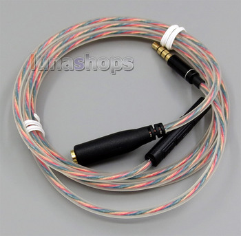 LN005091 Hi-OFC 3.5mm Male To Female + Mic Volume Remote control Cable For Headphone Earphone