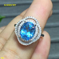 KJJEAXCMY Fine Jewelry 925 Silver Inlay Color Natural Topaz Ring 4 Karat Female Ring Wholesale And