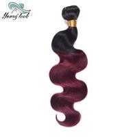 Young Look Burgundy Brazilian Body Wave Ombre Human Hair Weave Bundles Two Tone 1b 99J Hair Weaving 100g/pc Non Remy Hair