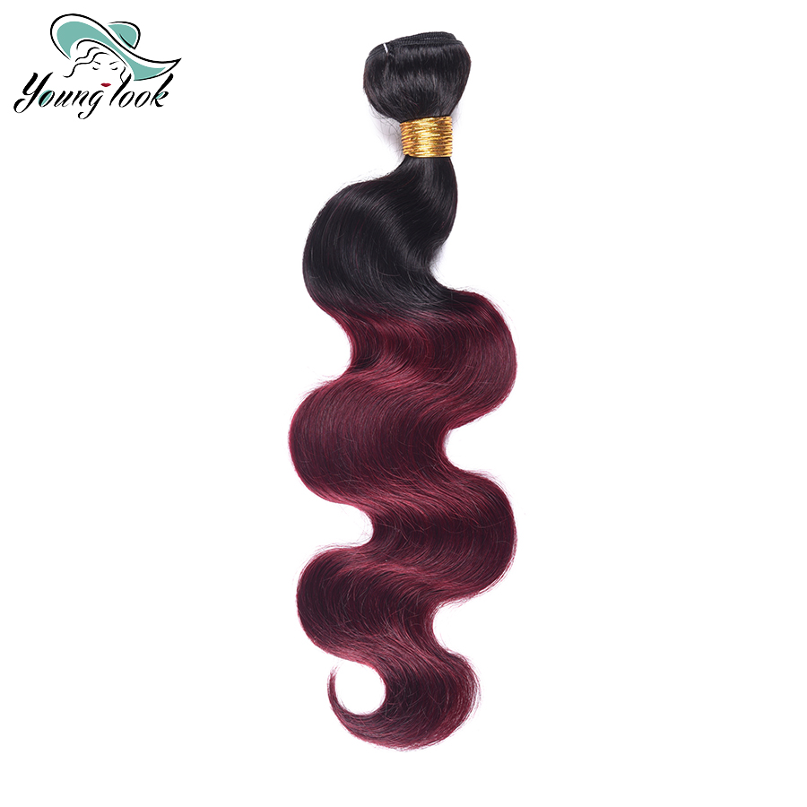 Young Look Burgundy Brazilian Body Wave Ombre Human Hair Weave Bundles Two Tone 1b 99J Hair Weaving 100g/pc Non Remy Hair