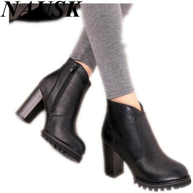 2015 Осень Зима Ботильоны Новая Мода Вырезы Платформы Женщин Сапоги Сексуальные Высокие Каблуки Вскользь Насосы Женская Обувь женщина
