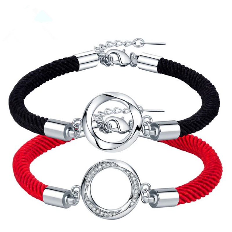 RONERAI New Fashion Silver 925 Bracelets For Women Men Couple Lovers Shiny CZ Round Pendant Jewelry Black Red Rope Bracelet