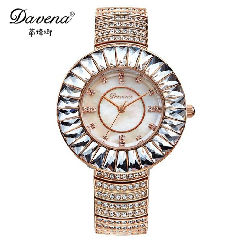 2016 luxury bling Austrian crystal wristwatch women dress rhinestone watches fashion casual quartz watch Best Davena 60892 clock