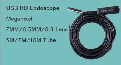(20~27Day Delivery++)DBPOWER USB HD 2 In 1 Video Endoscope for Android  Mobile and Laptop10M/5M/2M 8 5MM Lens Ipx67 6LED Borescope Snake Camera