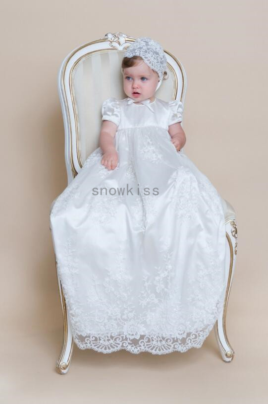 2016 New Famous Prince George Short Sleeves Christening Dresses with Beautiful White/ivory Lace Unique Baby Christening Gowns the story of prince george