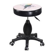 Taburete de barbería Vintage barato, taburete de trabajo giratorio de estilo elegante de belleza, silla de impresión en Color ajustable en altura