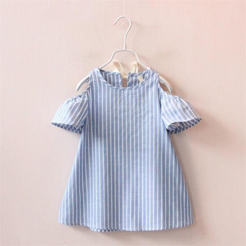 2-6 Years Summer Girl Dress 2017 New Blue White Striped Kids Clothes For Girls Casual Off-The-Shoulder Children's Dress 2pcs children outfit clothes kids baby girl off shoulder cotton ruffled sleeve tops striped t shirt blue denim jeans sunsuit set