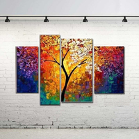 handpainted oil painting for living room wall palette knife art large canvas art cheap multi panel 4 pieces abstract pictures