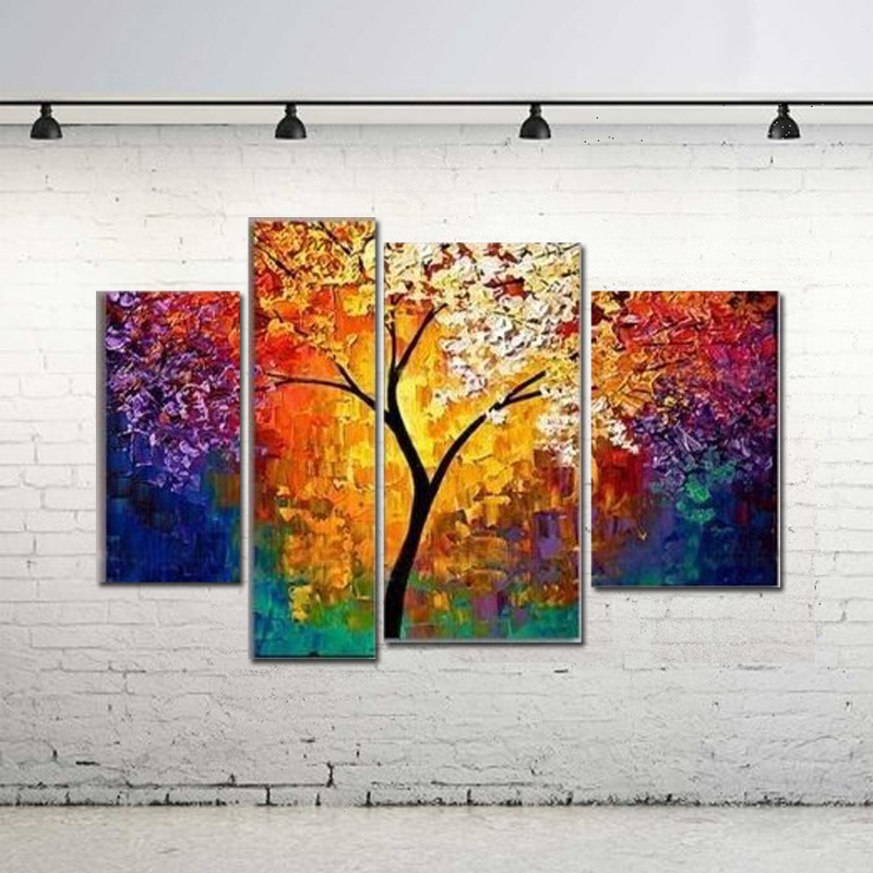 Handpainted Oil Painting For Living Room Wall Palette Knife Art Large  Canvas Art Cheap Multi Panel 4 Pieces Abstract Pictures In Painting U0026  Calligraphy From ...