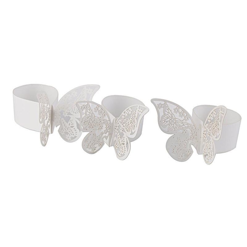 unids hollow mariposa hebillas servilleta anillos de servilleta de papel para el banquete de boda