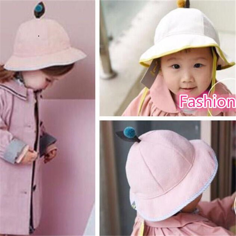 78382ee6e4b New Fashion Autumn Baby Hat with Leaf Baby Girl Hats Boy Cap Casual Cotton  Linen Beach Cap Outdoor Sunshade Bucket Hats-in Hats   Caps from Mother    Kids on ...
