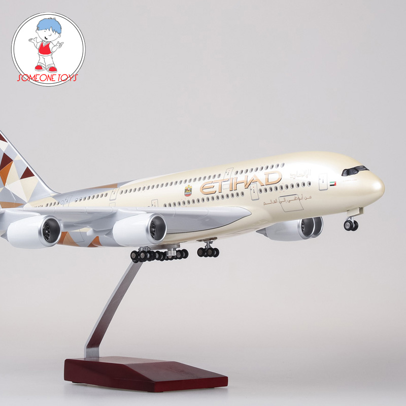 1/160 Scale ETIHAD Airways Airplane Model Airbus A380 ETIHAD Model With Light Wheel Diecast Plastic Resin Plane Children Gift image