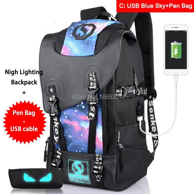 [Do livraison directe] C mode grande capacité hommes femmes unisexe voyage école adolescents sacs à dos lumineux avec sac à stylo + câble USB
