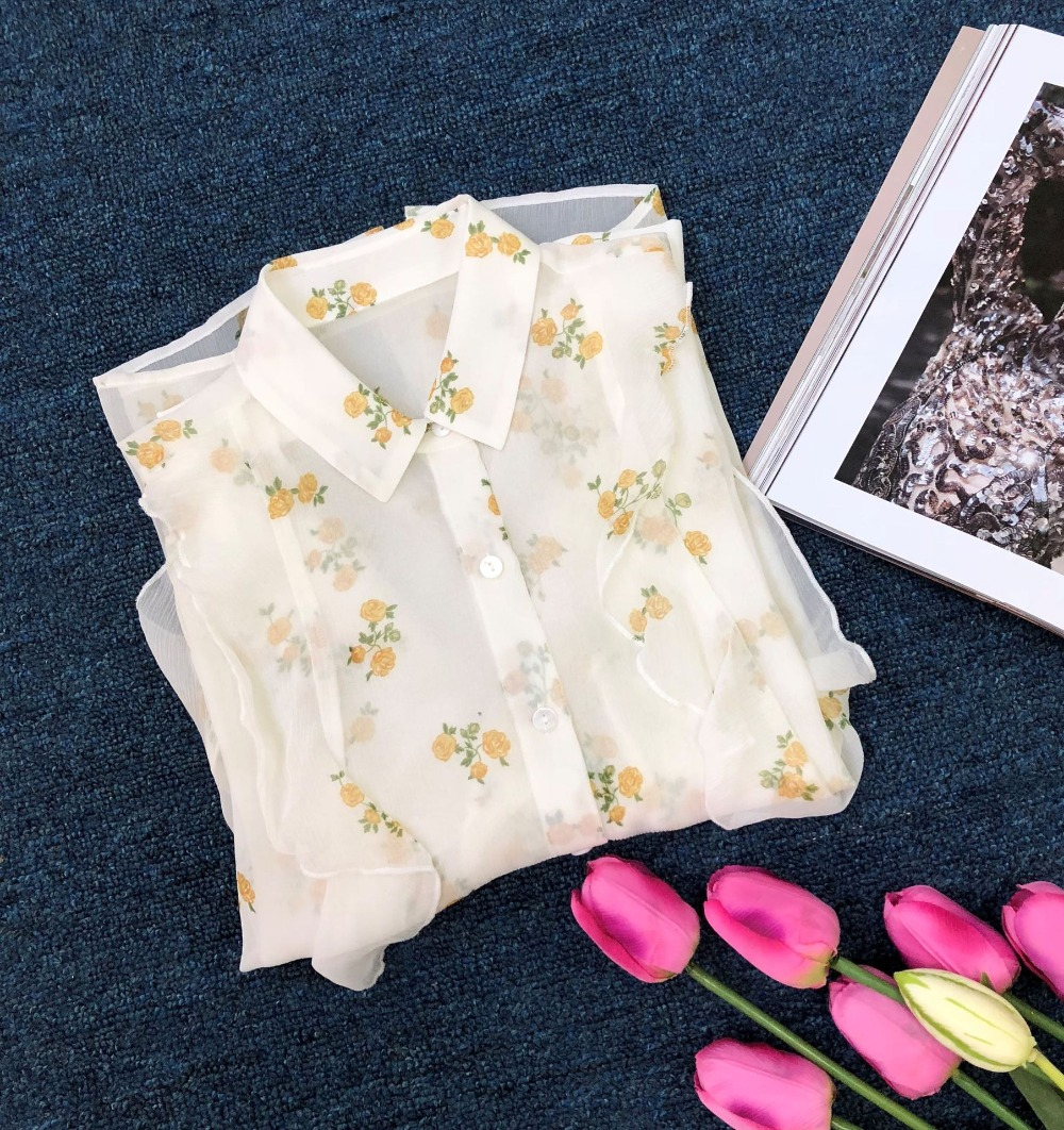 Donne Casual Alta Beige A Francese Stampa Camicette Rosa Di Maniche Stile Giallo Ruffles Qualità Seta Lunghe Delle b7yf6gvY