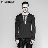PUNK RAVE Punk Fashion Lashing Chest Strap Steampunk Rock T shirt Gothic Festival Black V Neck Elastic Long Sleeve Men Tops