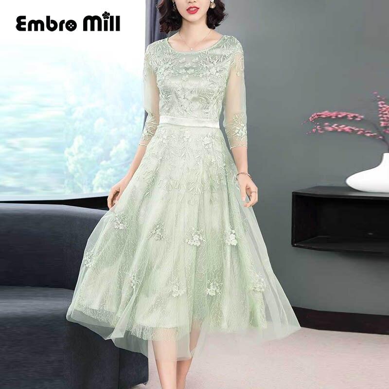 Printemps petite princesse floral midi poudre/vert robe maille broderie Floral dentelle robes Slim élégant dame robe de soirée S-XXL
