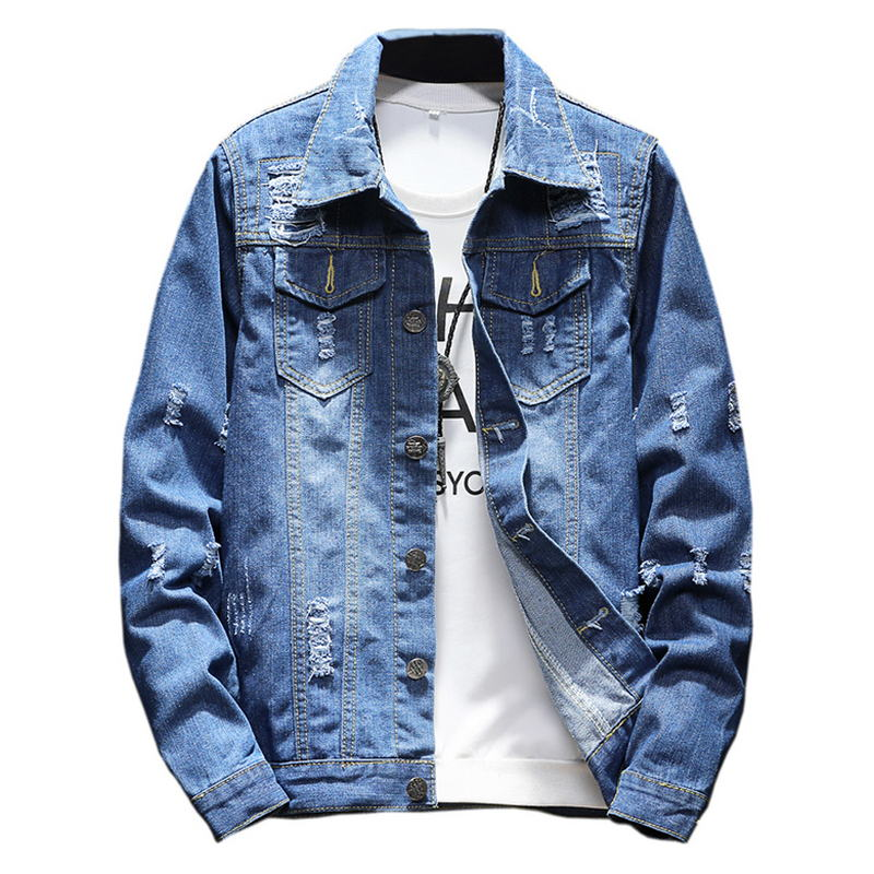 Brand 2018 M-5XL Men Jean Jacket Clothing Denim Jacket Fashion Mens Jeans Jacket Thin Spring Outwear Male Cowboy