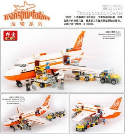 Banbao Model building kits compatible with lego city Cargo aircraft plane 1021 3D blocks Educational toys hobbies for children
