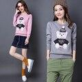 Новые 2017 женщины свитера и пуловеры корейский стиль хорошее качество пуловер мода повседневная шею Мультфильм медведь свитер